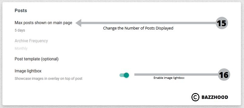 Posts setting