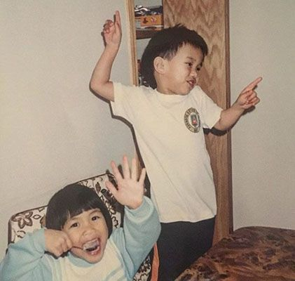 Childhood Picture of Stephanie Sy with her Brother