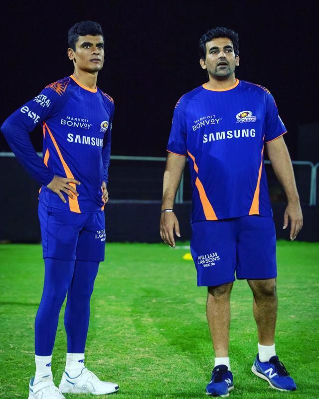 Digvijay Singh along with Mumbai Indians bowling coach Zaheer Khan