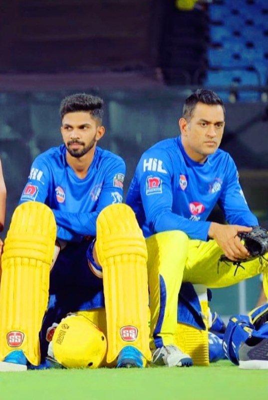 Ruturaj Gaikwad with Mahendra Singh Dhoni during IPL practice sessions
