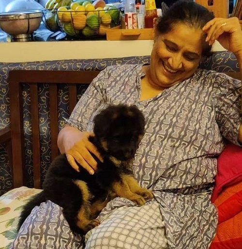 Seema Pahwa With Her Pet Dog