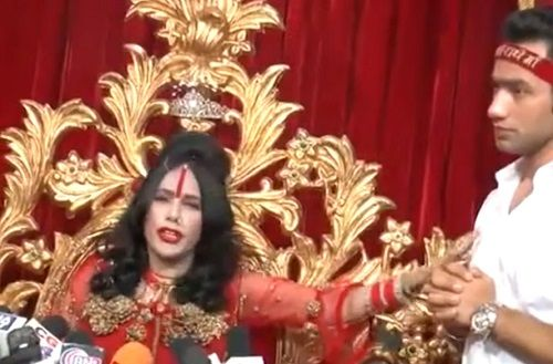 Radhe Maa With Her Son in an Interview