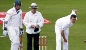 Darren Pattinson in action in his only test match he played for England