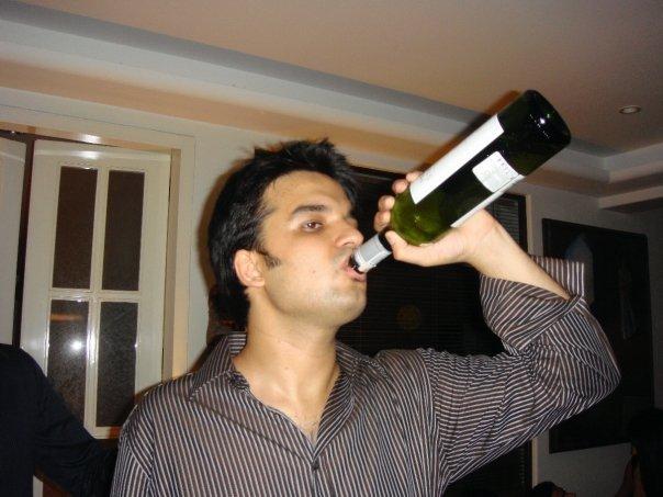 Gautam Kitchlu drinking alcohol