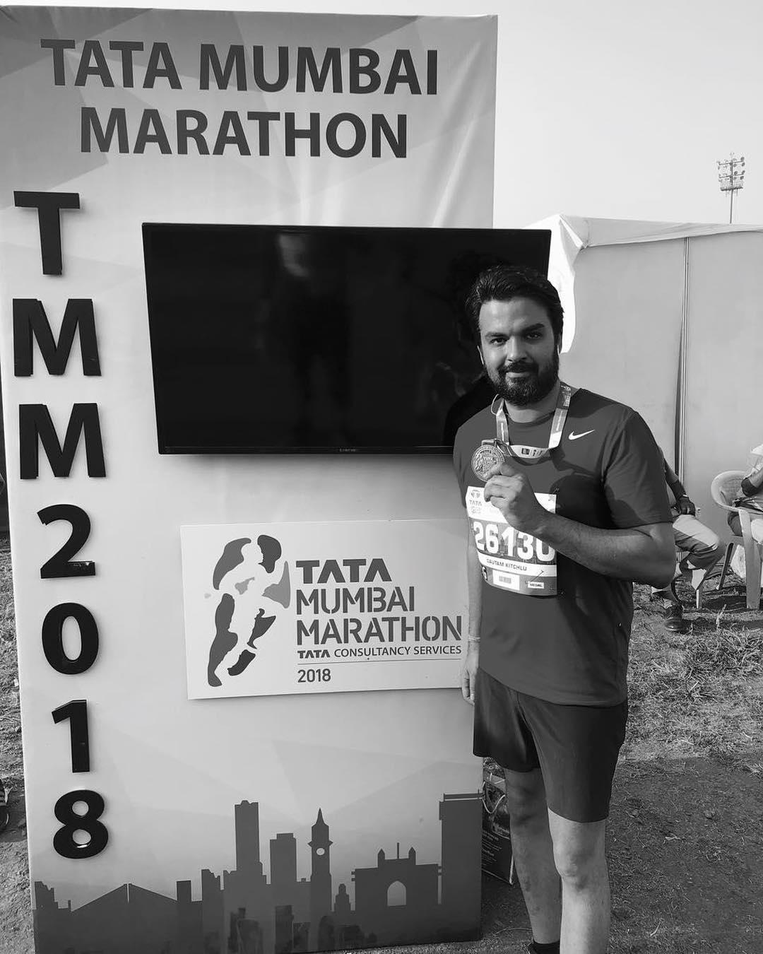 Gautam Kitchlu participated in the Tata Mumbai Marathon