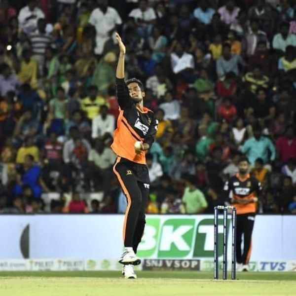 R Sai Kishore bowling during Tamil Nadu Premier League