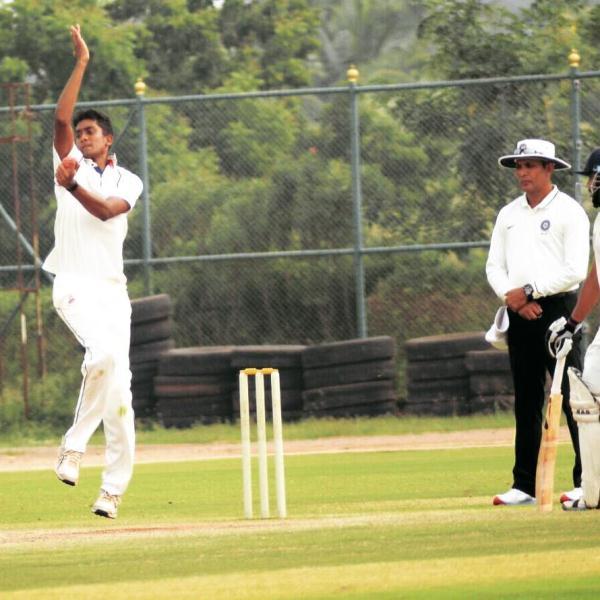 R Sai Kishore bowling during a school tournament test match