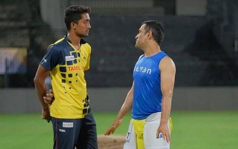 R Sai Kishore with CSK captain, Mahendra Singh Dhoni