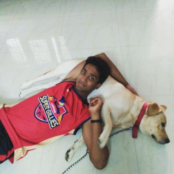 R Sai Kishore with his dog, Boo