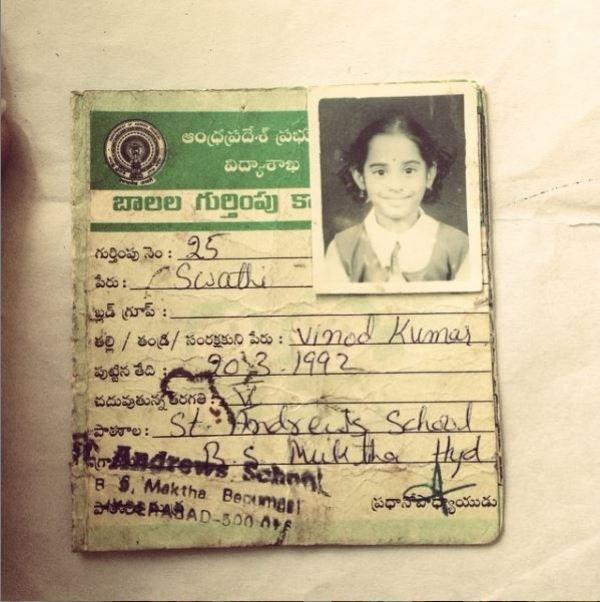 Swathi Deekshith's school card