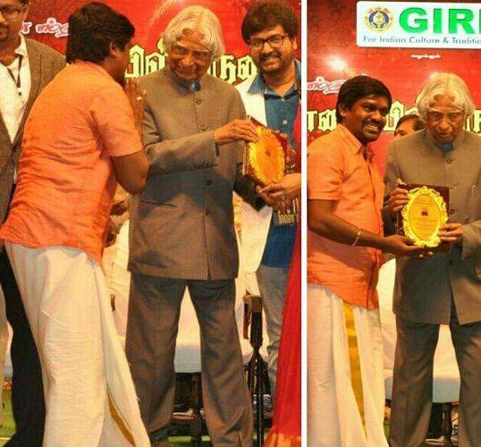 Velmurugan Receiving Award for Best Singer