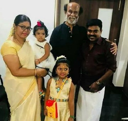 Velmurugan With His Wife, Daughters, and Rajinikanth