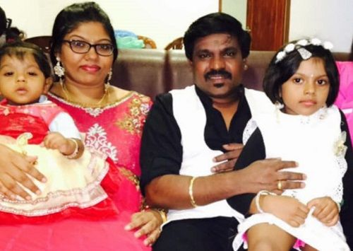 Velmurugan With His Wife and Daughters