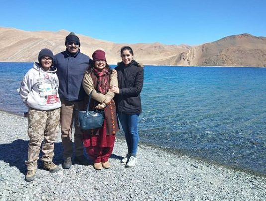 Srishti Sudhera with her family
