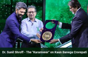Dr Sunil Shroff in KBC with Riteish Deshmukh and host Amitabh Bachchan