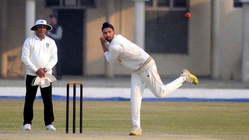 Harpreet Brar during a test match against Hoshiarpur