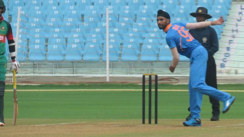 Harpreet Brar bowling for India U-23 team