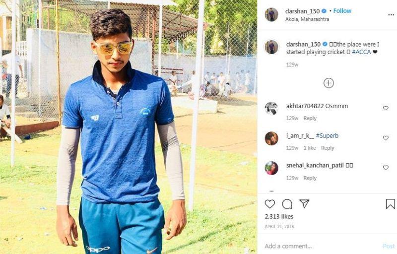 Darshan Nalkande at the Akola Cricket Club practice nets in Akola