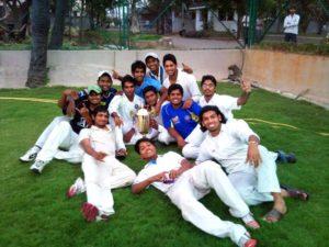 Sandeep Bavanaka with his under 19 Hyderabad teammates