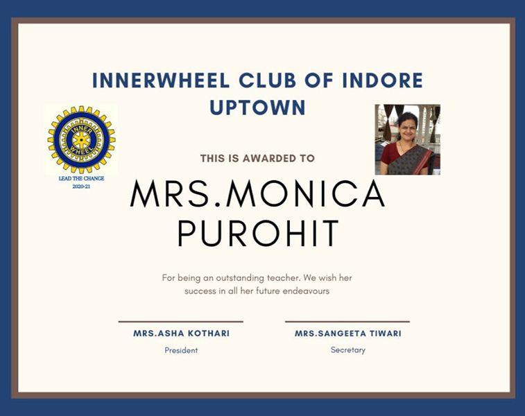Monica Purohit - Inner Wheel Club Award 2015- 2016
