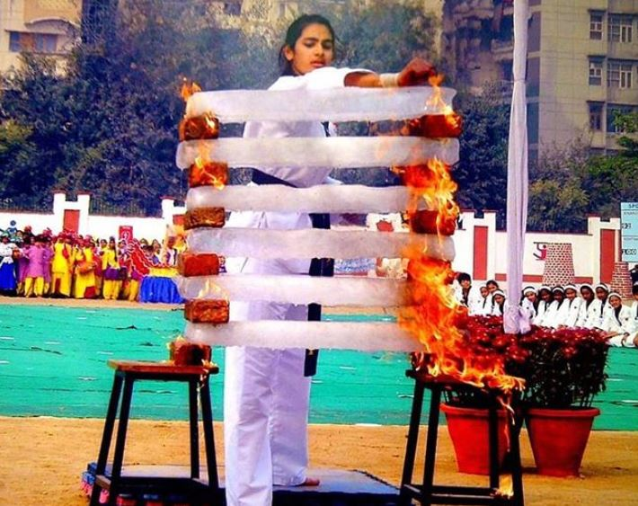 Arushi Chawla during Martial Arts competition in her school days
