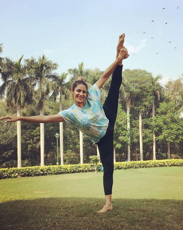 Arushi Chawla doing Yoga