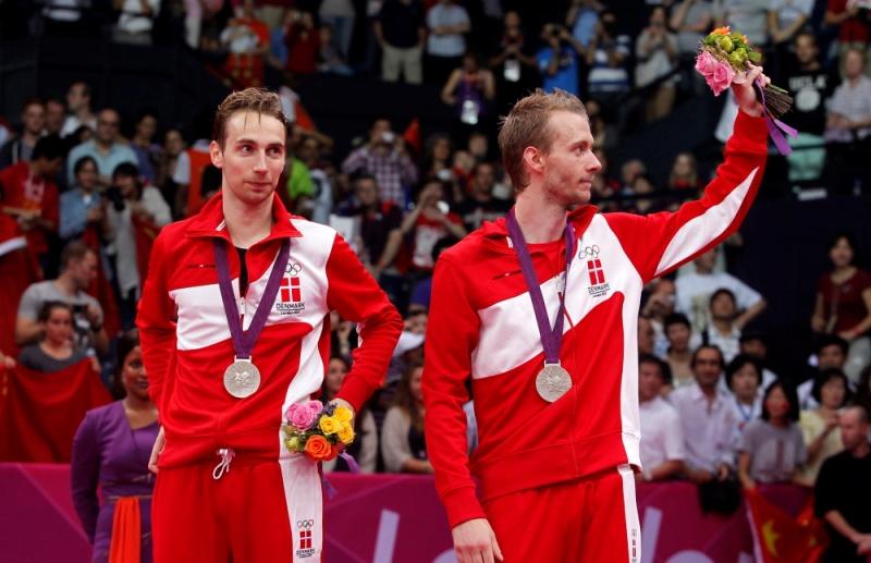 Mathias Boe and Carsten Mogensen on the podium at London 2012