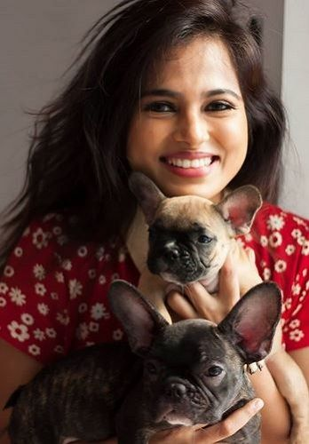 Ramya Pandian With Her Pet Dogs