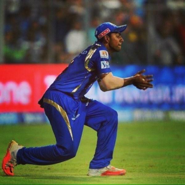 Jagadeesha Suchith in his debut IPL match for Mumbai Indians in 2015
