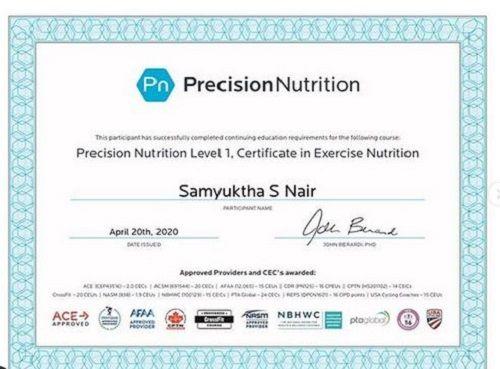 Samyuktha Karthik Certificate of Nutritionist
