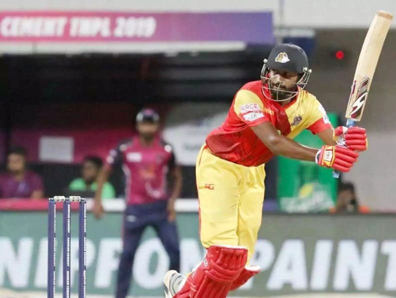 Sanjay Yadav plays a shot during a TNPL match