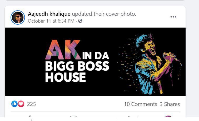 Aajeedh Khalique's Facebook Post
