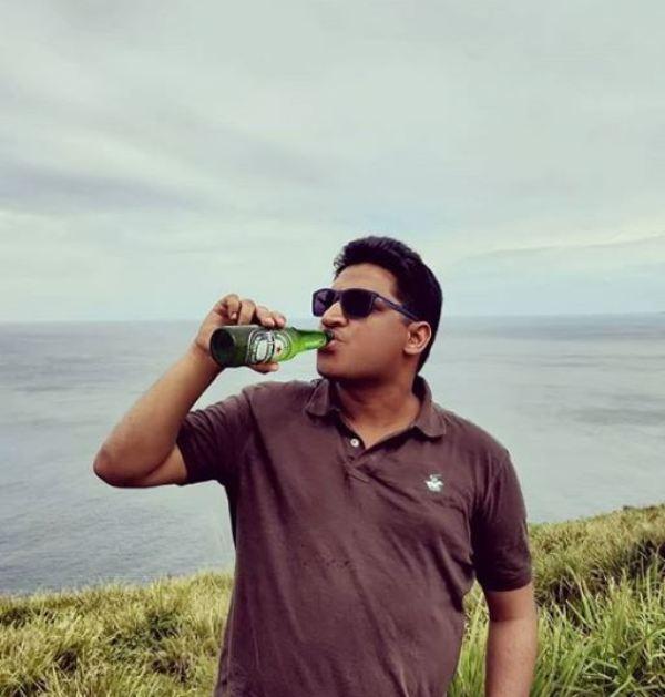 Gaurav Gupta enjoying a beer.