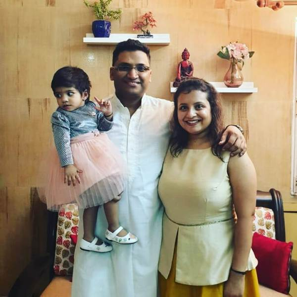Gaurav Gupta with his wife and daughter