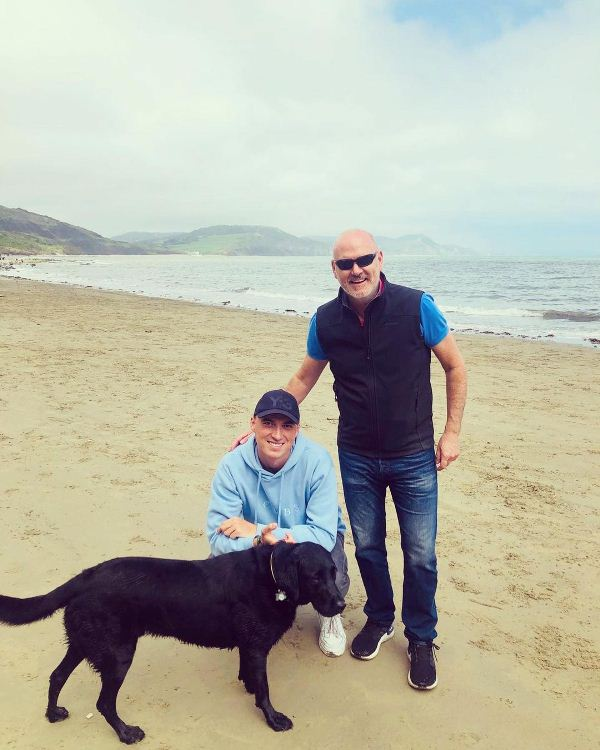 Tom Banton with his father, Colin Banton and their dog