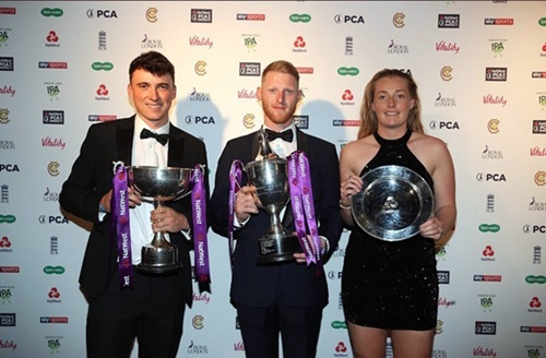 Tom Banton (left) with Ben Stokes and Sophie Ecclestone