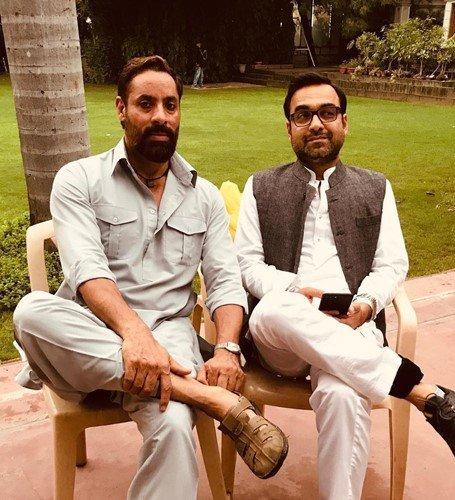 Shaji Choudhary with Pankaj Tripathi during the shooting of Mirzapur