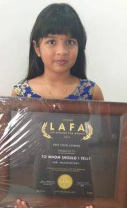 Mahaswetha with her LAFA 2020 Best Child Actress award