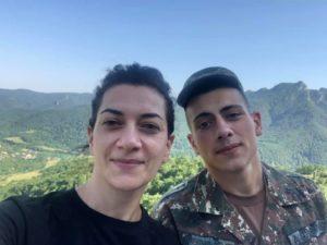 Anna Hakobyan with her son Ashot Pashinyan