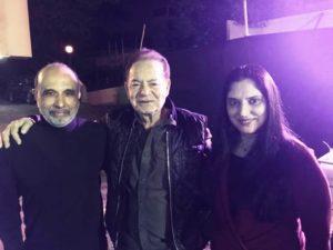 From Left: Sanjay Jha, Salim Khan (Bollywood writer), and Pallavi Jha