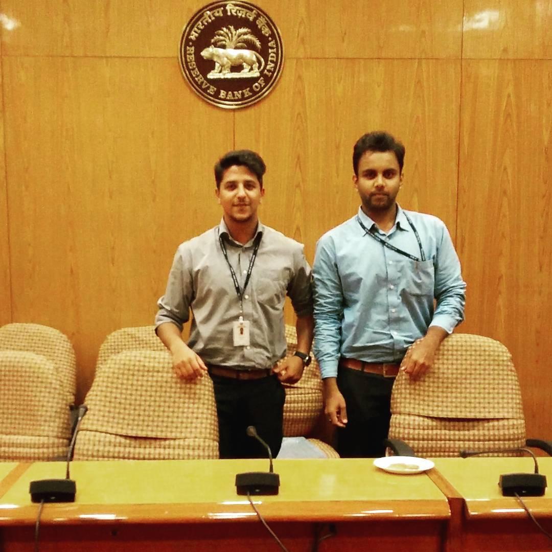 Abhinav Shekhar in the Reserve Bank of India office