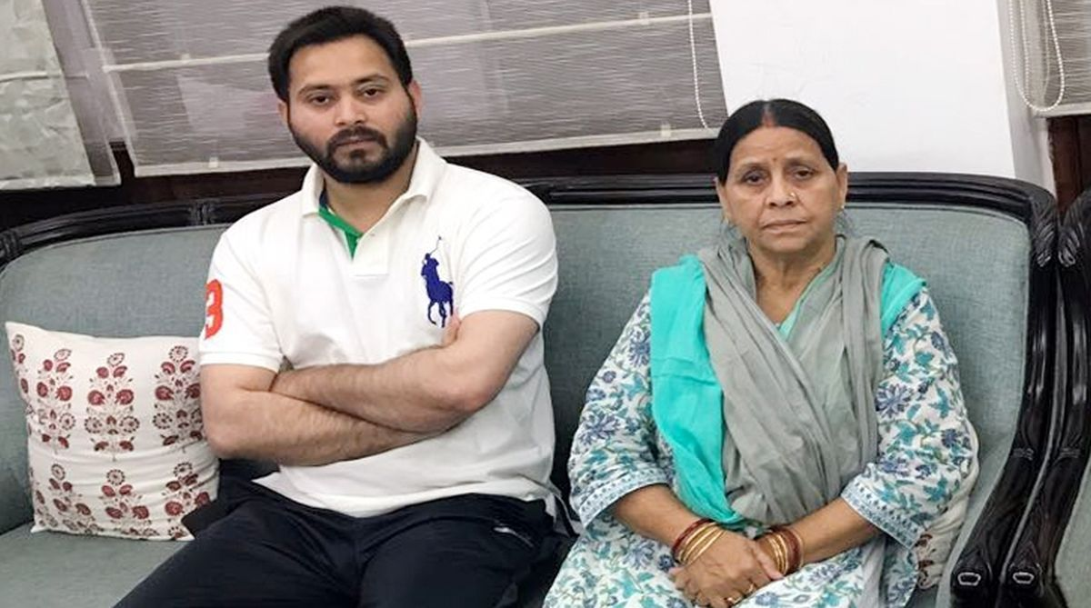 Tejashwi Yadav with his mother Rabri Devi at their residence in Patna