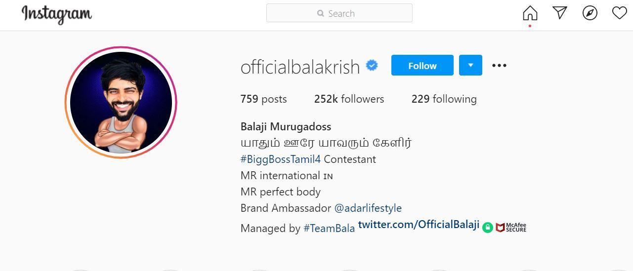 Balaji Murugadoss' Instagram Profile