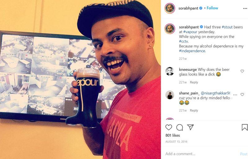 Sorabh Pant drinking alcohol