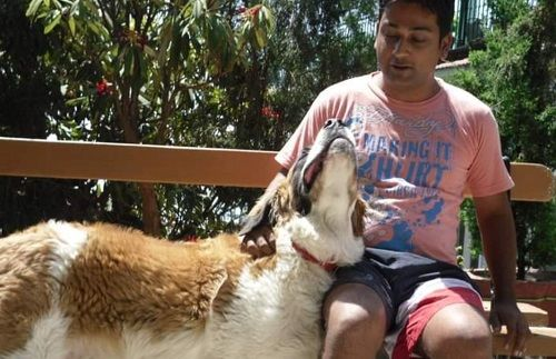 Ronnit Biswas With His Pet Dog
