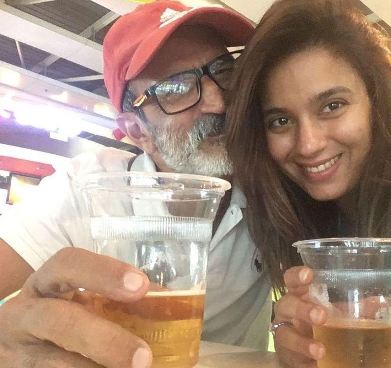 Bhavna Ruparel enjoying beer with her husband