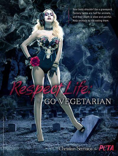 Christian Serratos Posing for a PETA Campaign