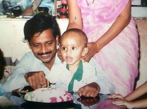 A Childhood Picture of Rahul Vaidya With His Father
