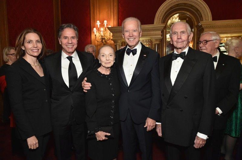 From left to right, Evan Ryan, Antony Blinken, Vera, Joe Biden, and Donald M. Blinken