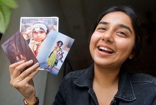 Prajakta Koli Showing Her Childhood Pictures